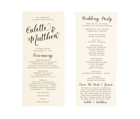 Colette Ceremony Program / Itinerary
