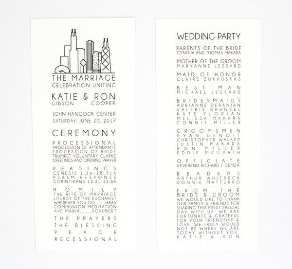 Katie Ceremony Program / Itinerary
