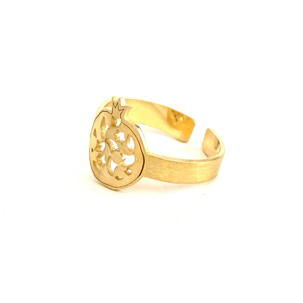 Fine adjustable ring pomegranate no.2. Gold plated silver. PLATÓNICA, contemporary signature jewelry. manufactured in our workshop in Albaicin, Granada, Spain. Handmade jewelry.