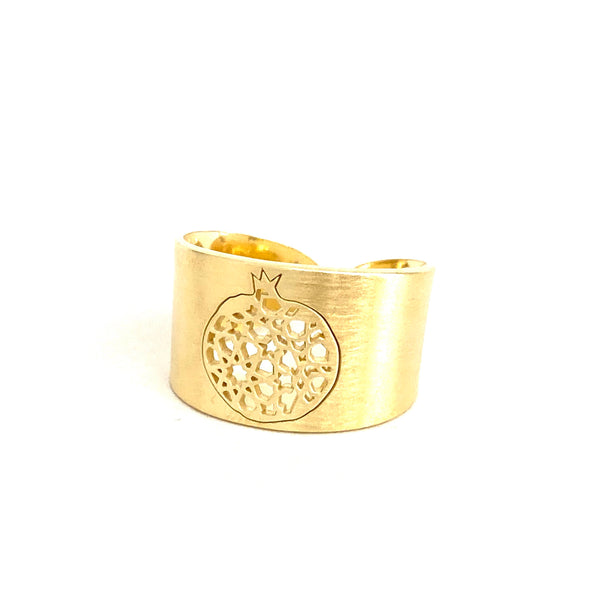 4 grenade wide adjustable ring. Gold plated silver. PLATÓNICA, contemporary signature jewelry. manufactured in our workshop in Albaicin, Granada, Spain. Handmade jewelry. Alhambra Jewels, Granada
