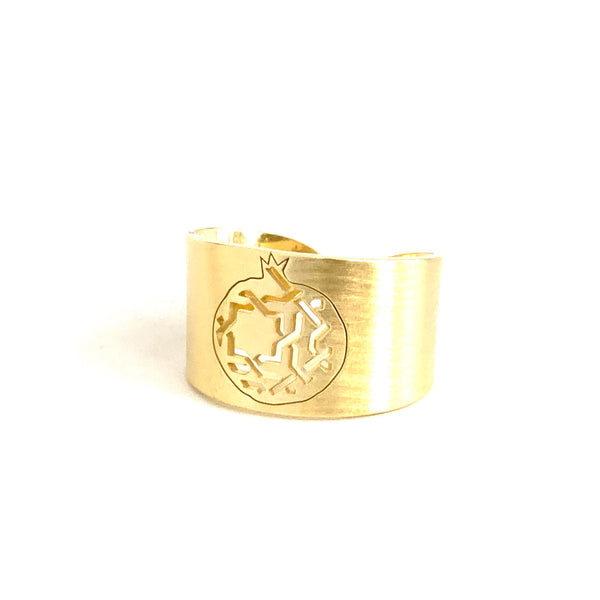 3 grenade wide adjustable ring. Gold plated silver. PLATÓNICA, contemporary signature jewelry. manufactured in our workshop in Albaicin, Granada, Spain. Handmade jewelry. Alhambra Jewels, Granada