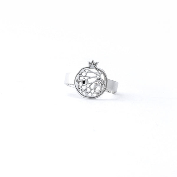 Fine ring pomegranate no.1. 925 silver. Sterling silver. PLATÓNICA, contemporary signature jewelry. manufactured in our workshop in Albaicin, Granada, Spain. Handmade jewelry. Alhambra Jewels, Granada. Granada crafts. Jewels made of Andalusia.