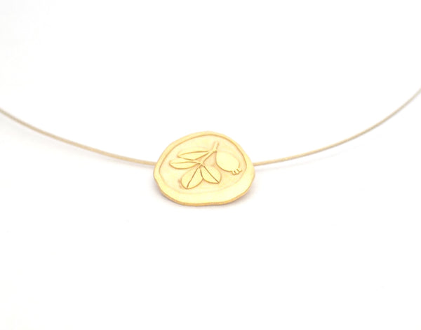 Gold plated sterling silver and nylon coated steel pendant. Pendant inspired by the botany of the Alhambra and Granada. Contemporary signature jewelry inspired by Andalusian tradition and culture. Granada crafts. Jewels made from Andalusia.