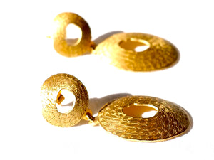 Double earring from The Penélope collection by PLATÓNICA is inspired by the dream weaver from Homer's Odyssey. Gold plated silver. Contemporary signature jewelry made by hand in our Albaicín workshop in Granada, Spain. Jewels made from Andalusia