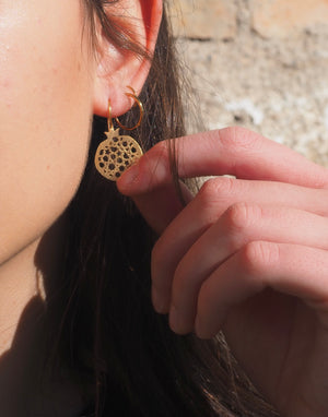Granada hook earrings no. 4. . Gold plated silver. PLATÓNICA, contemporary signature jewelry. manufactured in our workshop in Albaicin, Granada, Spain. Handmade jewelry. Alhambra Jewels, Granada. Granada crafts. Jewels made of Andalusia.