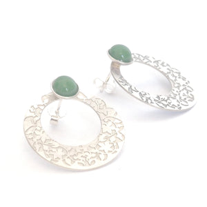 Green Nasrid Palaces detail earrings inspired by the mural decoration of the Alhambra, Granada. Signature jewelery based on the ataurique plasterwork of Andalusian architecture. Contemporary sterling silver and glass jewelry. Ethnic and sophisticated style. Made in Spain. Local crafts