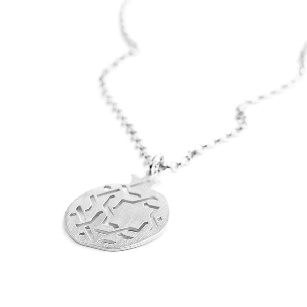 Granada pendant no. 3. 925 silver. Sterling silver. PLATÓNICA, contemporary signature jewelry. manufactured in our workshop in Albaicin, Granada, Spain. Handmade jewelry. Alhambra Jewels, Granada. Granada crafts. Jewels made from Andalusia.