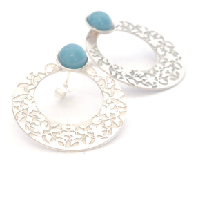 Blue Nasrid Palaces detail earrings inspired by the mural decoration of the Alhambra, Granada. Signature jewelery based on the ataurique plasterwork of Andalusian architecture. Contemporary sterling silver and glass jewelry. Ethnic and sophisticated style. Made in Spain. Local crafts