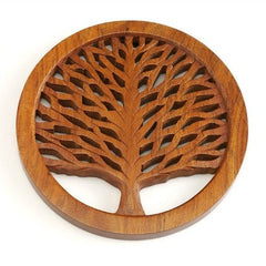 Handcarved Wood Tree of Life Trivet