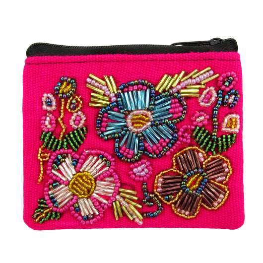 Sparkle Beaded Floral Coin Purse