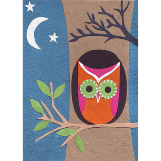Night Owl All Occasion Handcrafted Card by Good Paper
