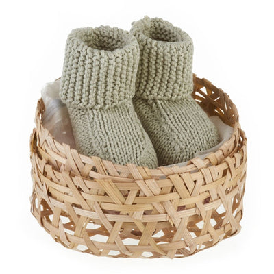 Organic Cotton Sage Baby Booties Gift Set