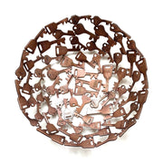 Antiqued copper-colored metal bowl made of assorted recycled iron keys