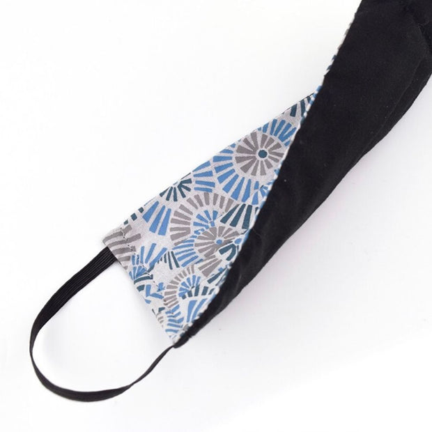 Pleated Face Mask with Filter Pocket Blue Floral