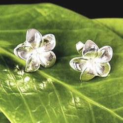 Jepun Flower Sterling Silver Stud Earrings from Bali