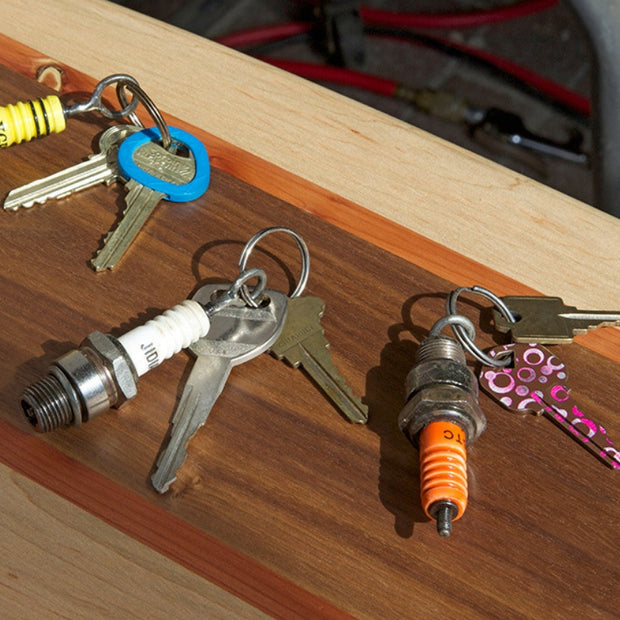 Recycled Spark Plug Key Ring lifestyle
