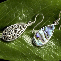 Burung Sterling Silver and Abalone Teardrop Earrings from Bali Indonesia