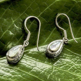 Antik Sterling Silver and Mother of Pearl Teardrop Earrings from Bali Indonesia
