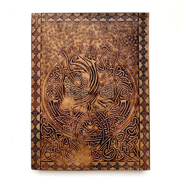 "Embossed Leather Journal 6"" x 8"" - Tree of Life back cover"