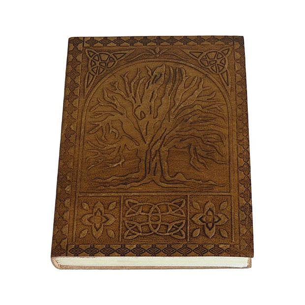 "Embossed Leather Journal 6"" x 8"" - Tree of Life front cover"