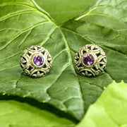 Pulau Sterling Silver and Amethyst Stud Earrings from Bali Indonesia