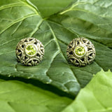 Pulau Sterling Silver and Peridot Stud Earrings from Bali Indonesia
