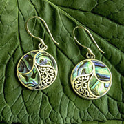 Saja Round Abalone and Sterling Silver Scroll Earrings from Bali