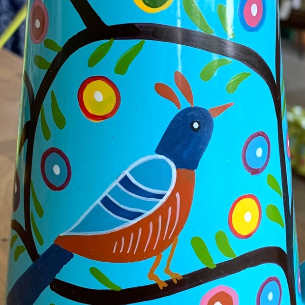 Blue Bird Watering Can hand-painted detail