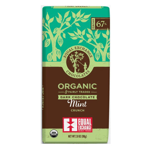 Organic Dark Chocolate with Mint Crunch (67% Cacao) 80g Bar