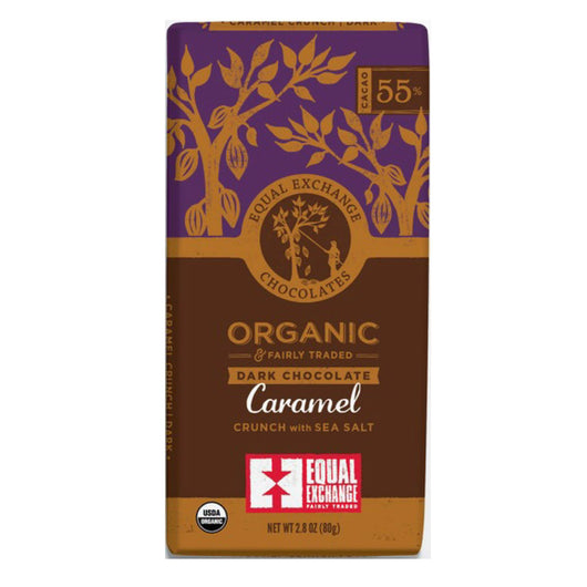 Organic Dark Chocolate Caramel Crunch with Sea Salt (55% Cacao) 80g Bar