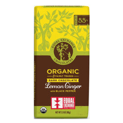 Organic Dark Chocolate Lemon Ginger with Black Pepper (55% Cacao) 80g Bar