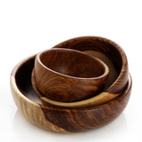 Shesham Wood Hand-Carved Bowl - set of three
