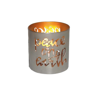 Peace on Earth Iron Tealight Holder