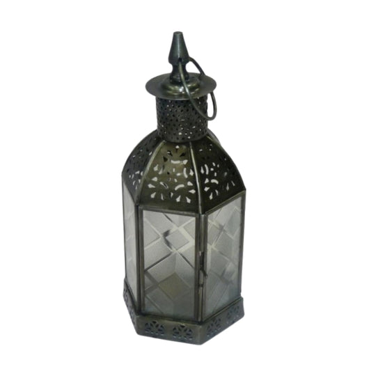 Antique Pewter Finish Hexagonal Lantern