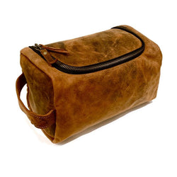 Genuine Leather Toiletry Dopp Kit Bag