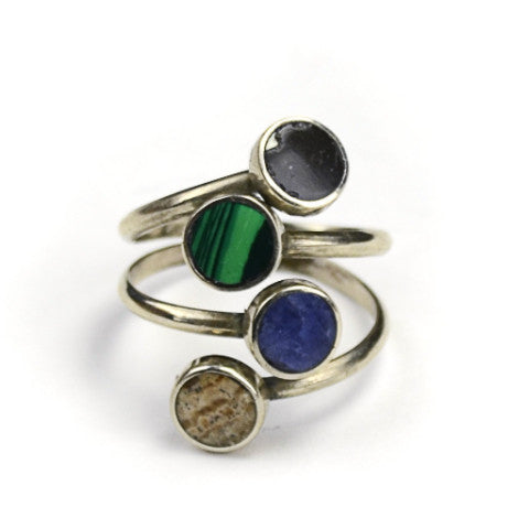 Quartet Alpaca Silver and Semi Precious Stone Adjustable Ring