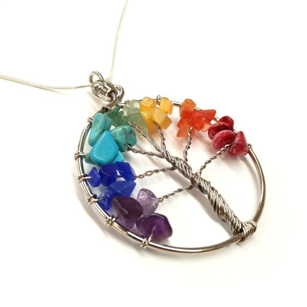 21631 Tree of Life Pendant Necklace with Stones and Wire-FairTrade-closeup