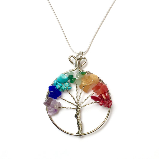 21631 Tree of Life Pendant Necklace with Stones and Wire-FairTrade