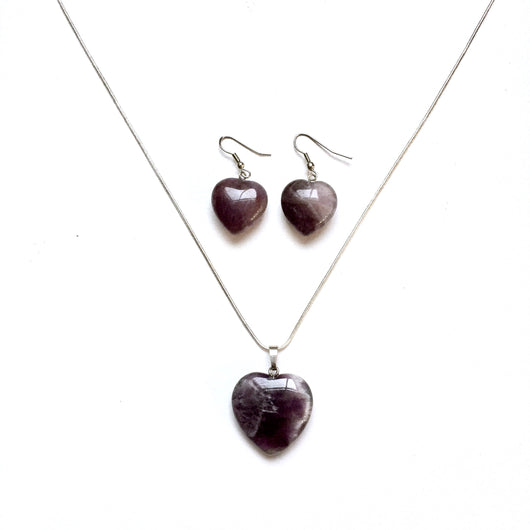 Have a Heart Earrings and Pendant Necklace Set-Amethyst