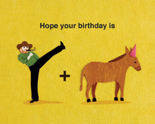 Kick Donkey Birthday Card