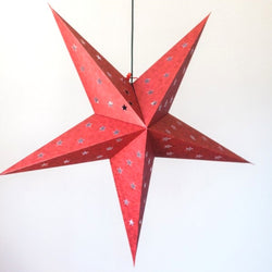 Recycled Paper Star Lantern - Red Shimmer