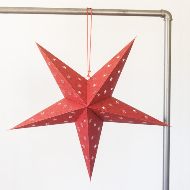 Recycled Paper Star Lantern - Red Shimmer lifestyle