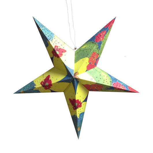 22-inch Tropical Recycled Paper Star Lantern