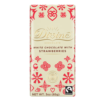 Divine White Chocolate with Strawberries 3oz Bar