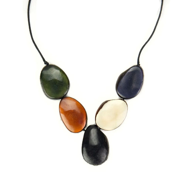Cinco Tagua Necklace - Forest