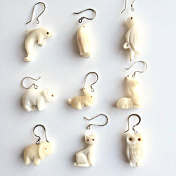 Hand-carved Tagua Animal Earrings
