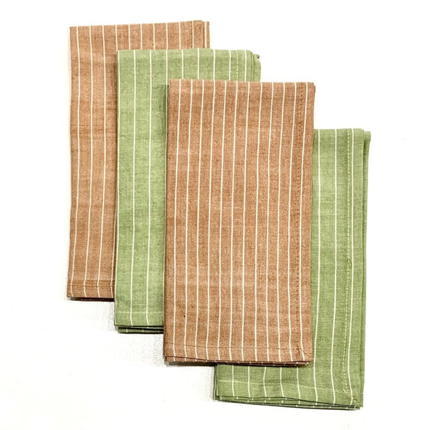 Set of Four Hand-woven Green Caramel Striped Napkins