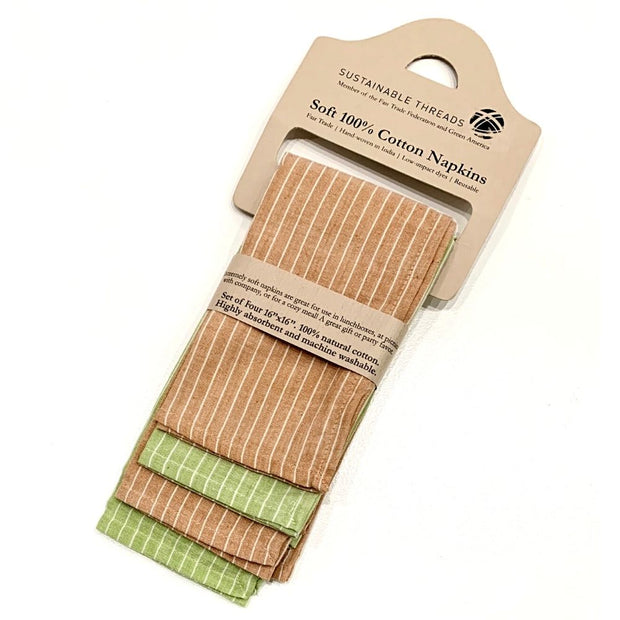 Set of Four Hand-woven Green Caramel Striped Napkins packaging