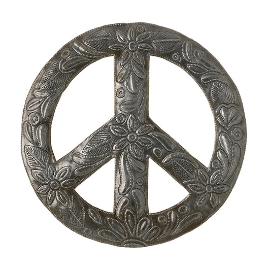 Peace Wreath Recycled Metal Wall Art 12.5 inches in diameter