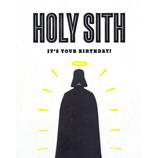 Holy Sith Birthday Letterpress Card by Good Paper